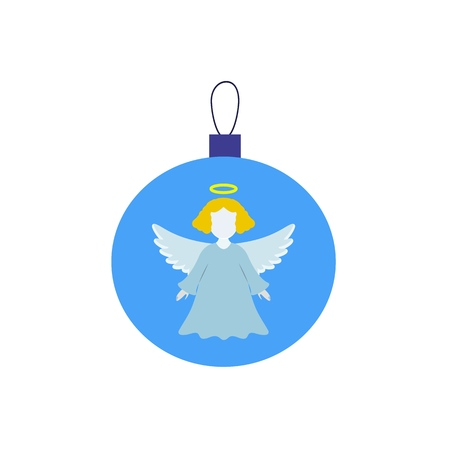 A Christmas ball with angel of icon on the white background