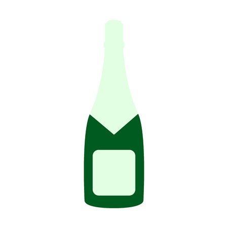 A bottle of champagne icon on the white background
