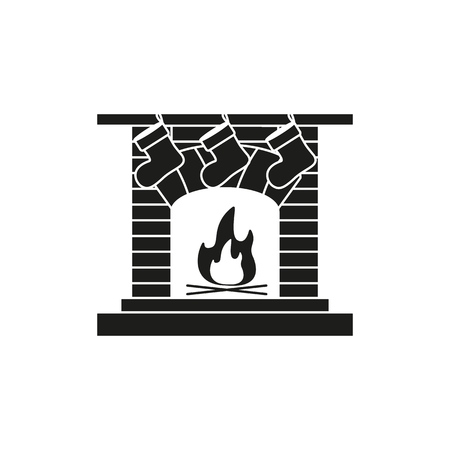 A fireplace,hearth,chimney,mantelpiece icon on the white background Illustration