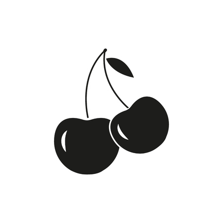 A few of cherry icons on the white background Imagens - 127343266