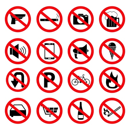 Set of the prohibition signs of icons