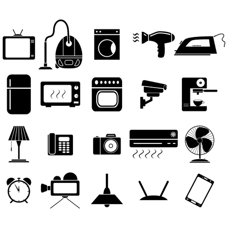 Set of electronic home equipment icons on the white background on the white background