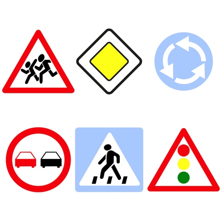 Set of the main road signs icons on