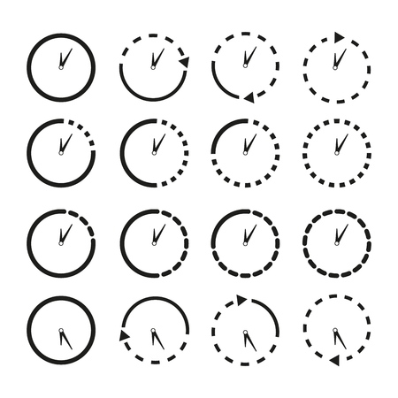Set of Non stop icons clocks on the white background