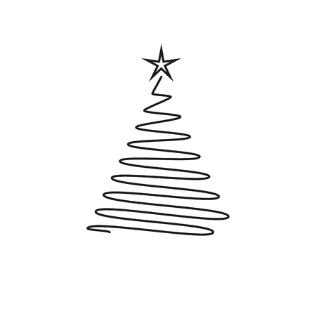 New Year tree icon in the outline on the white background Illustration