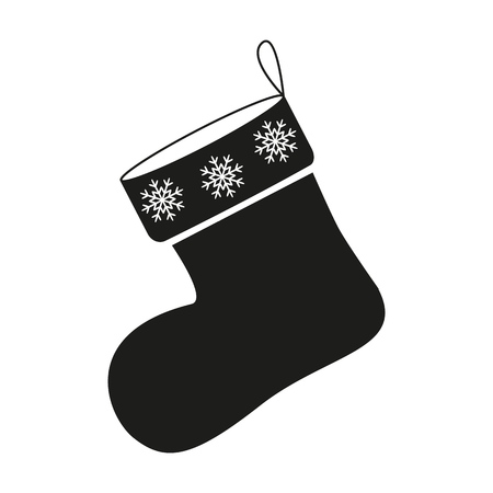 A Christmas of sock icon in black on the white background