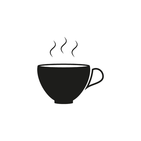 Cup of coffee black icon on the white background Illustration