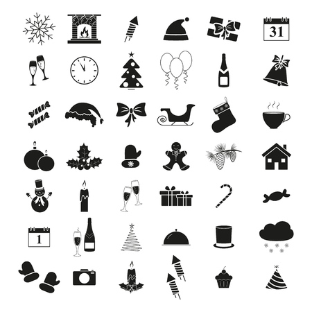 Set of winter icons holiday Christmas and New Year on white background Illustration