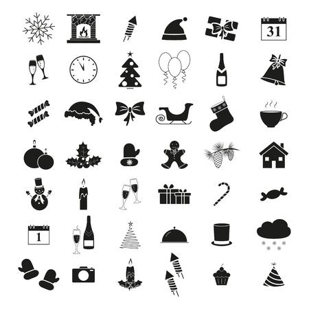 Set of winter icons holiday Christmas and New Year on white background Ilustração