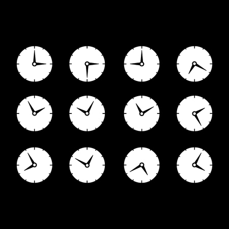 Set of times clocks icons on the white background Imagens - 127046830