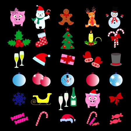 Set of Merry Christmas 30 icons Happy New Year on the black backgroud