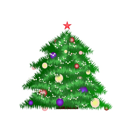New Year tree icon in the color in the white background Ilustração