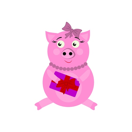 A pig with present New Year icons in color on white background Imagens - 126942265