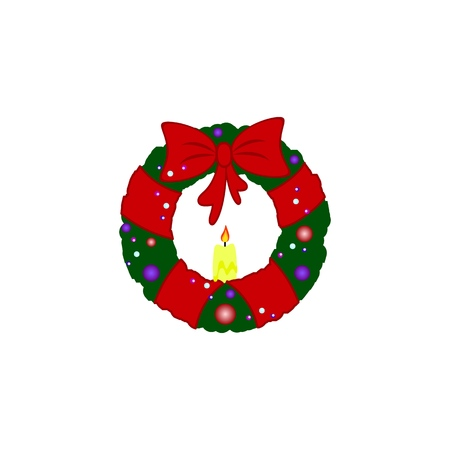 A New Year wreath with bow icons on the white background Standard-Bild - 126912842