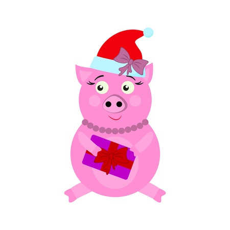 A pig with present New Year icons in color on white background Standard-Bild - 126912844