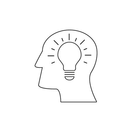 Head with lamp icon come up idea Ilustração