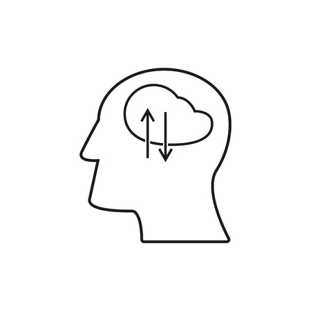 Head with work icons come up idea Ilustração