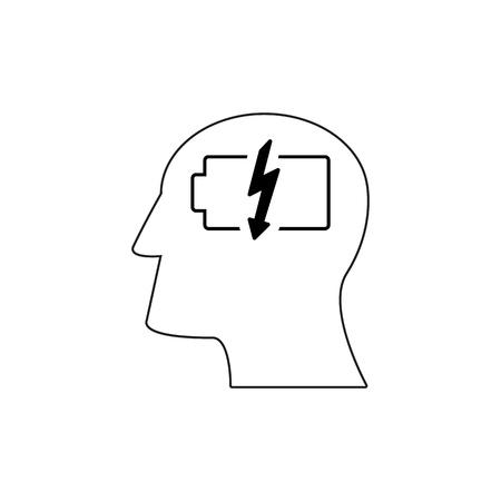 Head with battery work icons come up idea Ilustração