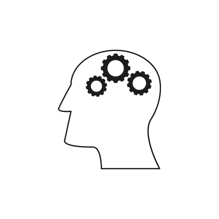 Head with Cogwheels work icons come up idea