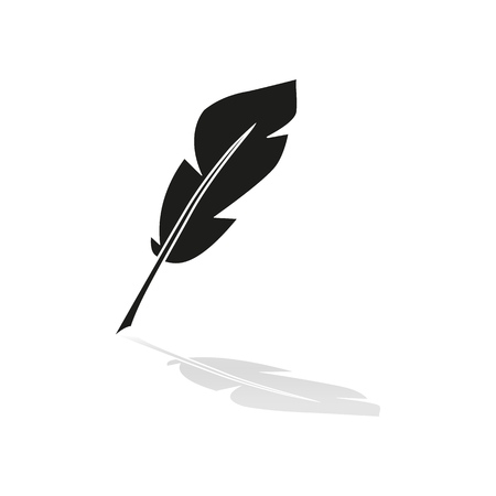 Pen feather icon with reflection on white background Ilustração
