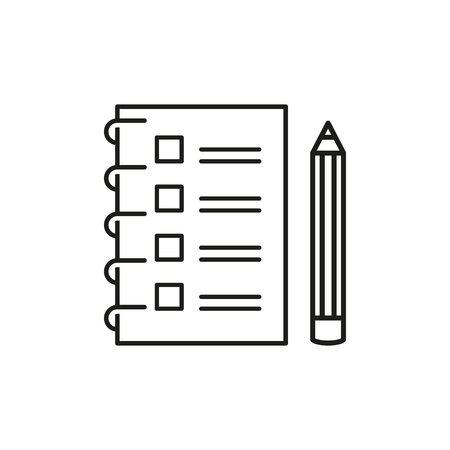 Checklist with a pencil to do list outline icon on background