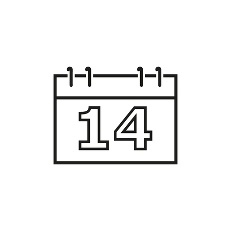 Calendar of Valentine day icons on white background