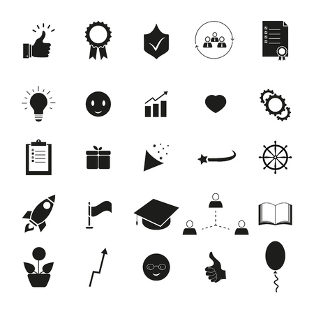 Set of bring up, the best result icons on the white background