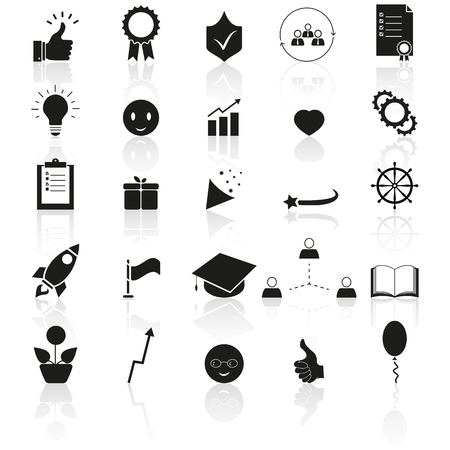 Set of bring up, the best result icons success reflection on the white background