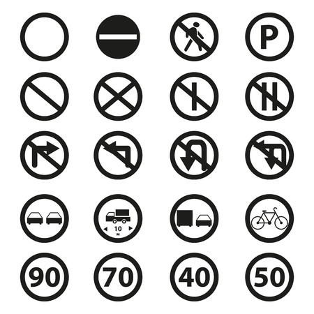 Set of the road prohibition signs icons on the white background Imagens
