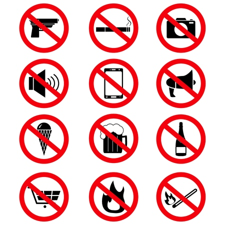 Set of the prohibition signs icons on the white background Imagens