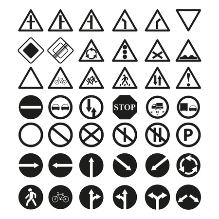Set of the main road of signs icons on the white background