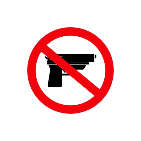 Stop gun dangerous sign of icon on the white background