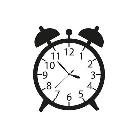 Alarm a clock icon in black ware up on the white background