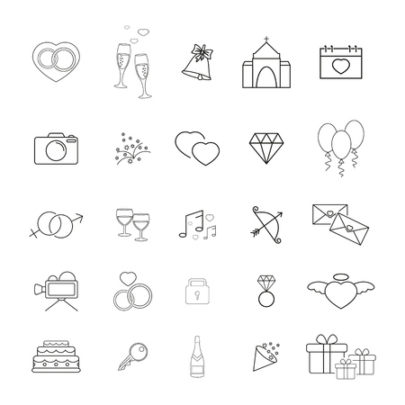 Collection of wedding thin line icons on the white background