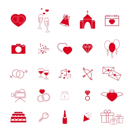Collection of the wedding red line icons