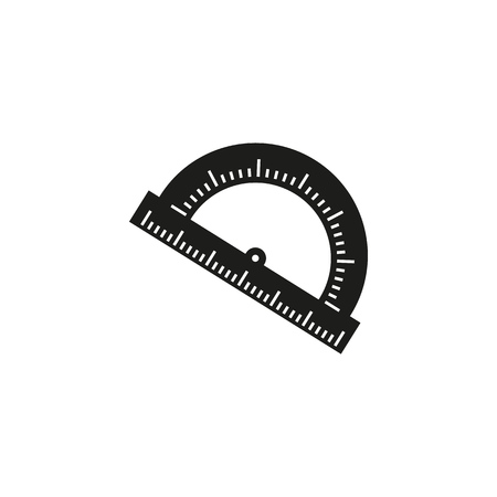 The Protractor of a school instrument icon Imagens - 127822560