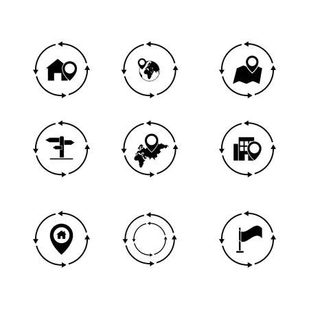 Set of navigation pinpointer icons the black Illustration