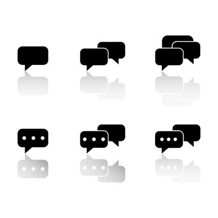 Set communication reflection icons on white background Ilustração