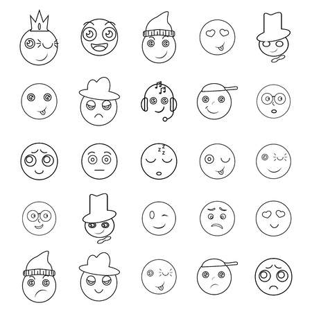 Set of emoji icons on the white background