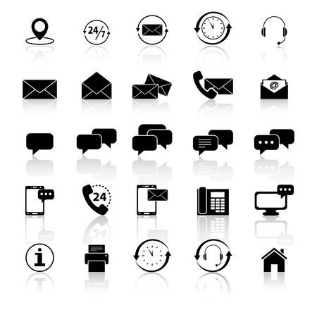 Set of communications with reflection icons on white background  イラスト・ベクター素材