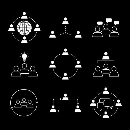 Set of team work communication icons on black background Ilustração