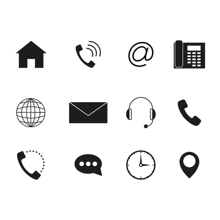 Contact to us icons set of black