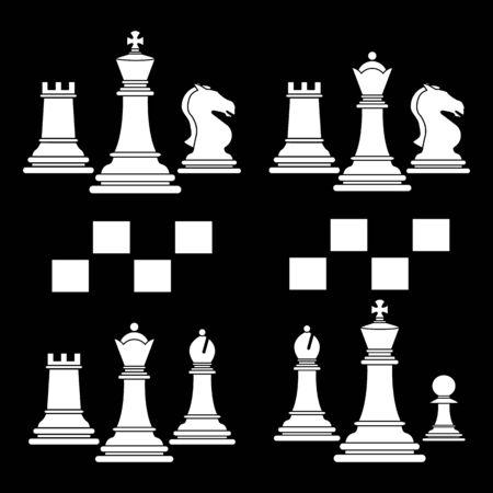 Set of chess club play icon white Imagens - 127822586