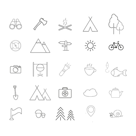 Set of Camping activities a line icons