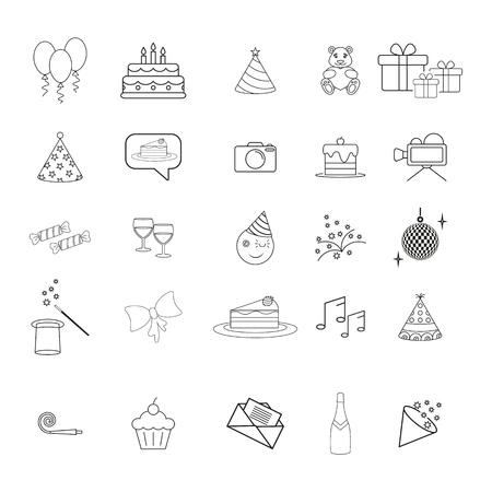 Set ot birthday party hapy day icons Standard-Bild - 127648846