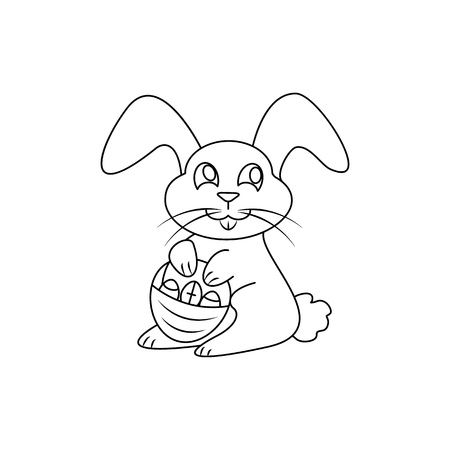 Happy easter icon rabbit on the white background