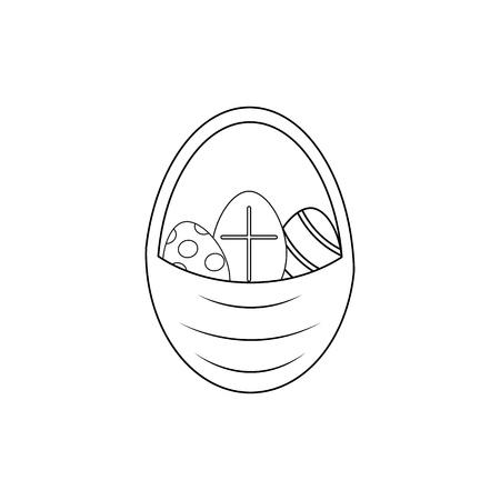 Happy easter of icon easter eggs on the white background Ilustração