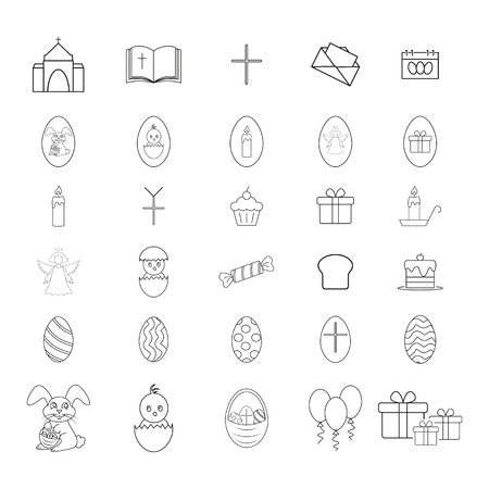 Set of Happy easter icons on the white background