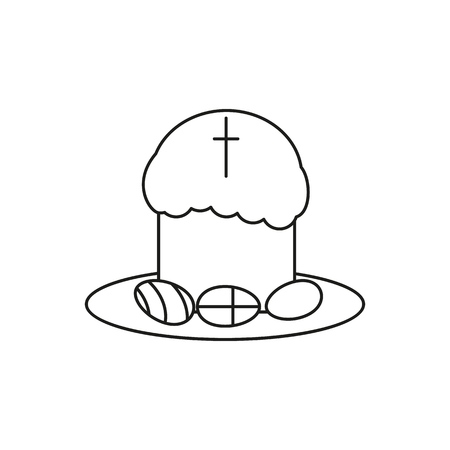 Happy easter an egg icon holiday on the white background Ilustração