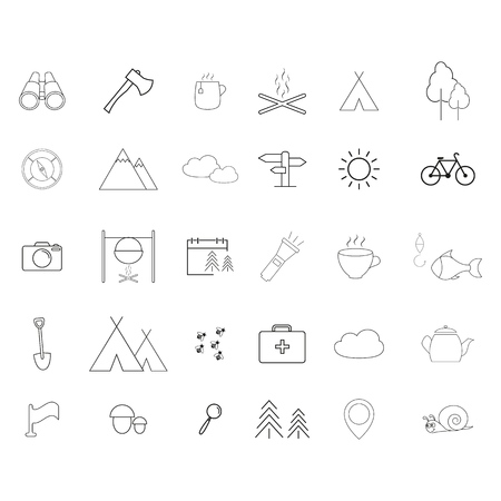 Camping activities line icons on the white background